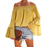 MOSHENGQI Women's Off Shoulder Tops Bell Sleeve Blouse Button Down Summer Casual Shirt