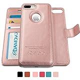 AMOVO iPhone 7 Plus ケース 手帳型 アイフォン7 プラス ケース カード収納 スタンド機能 脱着式 分離可能 iPhone 7 Plus 手帳ケース (iPhone 7 Plus, ローズゴールド)