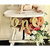 1st Birthday Baby Party Decoration High Chair Glitter Gold ONE Banner [並行輸入品]