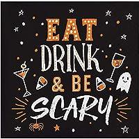 """クラブパック12のオレンジとホワイトEat Drink and Be Scary Printed飲料ナプキン5"""""""
