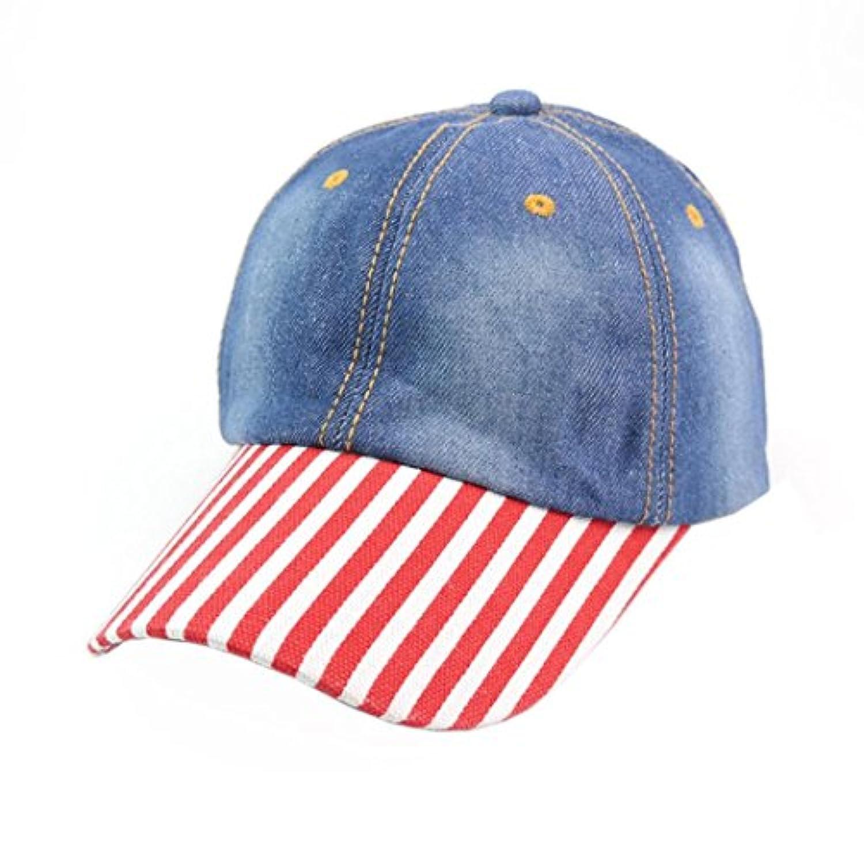 DDLBizメンズレディースTeensストライプデニムベースボールキャップ調節可能な日焼け止め帽子