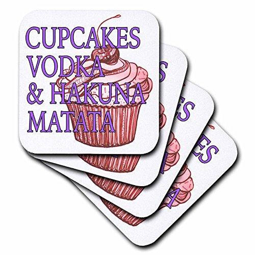 CST _ 186230EvaDane–面白い引用–カップケーキとHakuna Matata、パープル、レッド、ウォッカ–コースター set-of-8-Soft レッド cst_186230_2