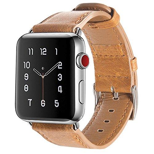 For Appleウォッチバンド42mm,エレガントでレトロなレザーAppleウォッチ,Appleレザービジネス用ストラップ iwatch 1/2/3 に対応 (42mm,茶色)