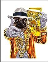 【パグ ラッパー ヒップホップ いぬ 犬】 余白部分にオリジナルメッセージお入れします!ポストカード・はがき(白背景)