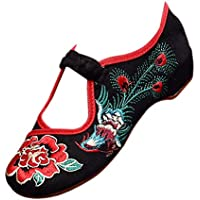KINDOYO Women Colorful Embroidered Shoes - Old Beijing Mary Jane Shoes Low Wedge Shoes