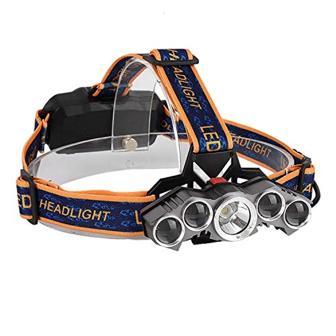 T6屋外用強力ヘッドライト、5ヘッドマウントヘッドライト、長距離固定焦点航空機用ヘッドライト、防水ヘッドライト