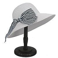 ZUAN ちょう結びを持つ女性のための日曜日の帽子Boater Hat (色 : 白, サイズ : 56-58CM)