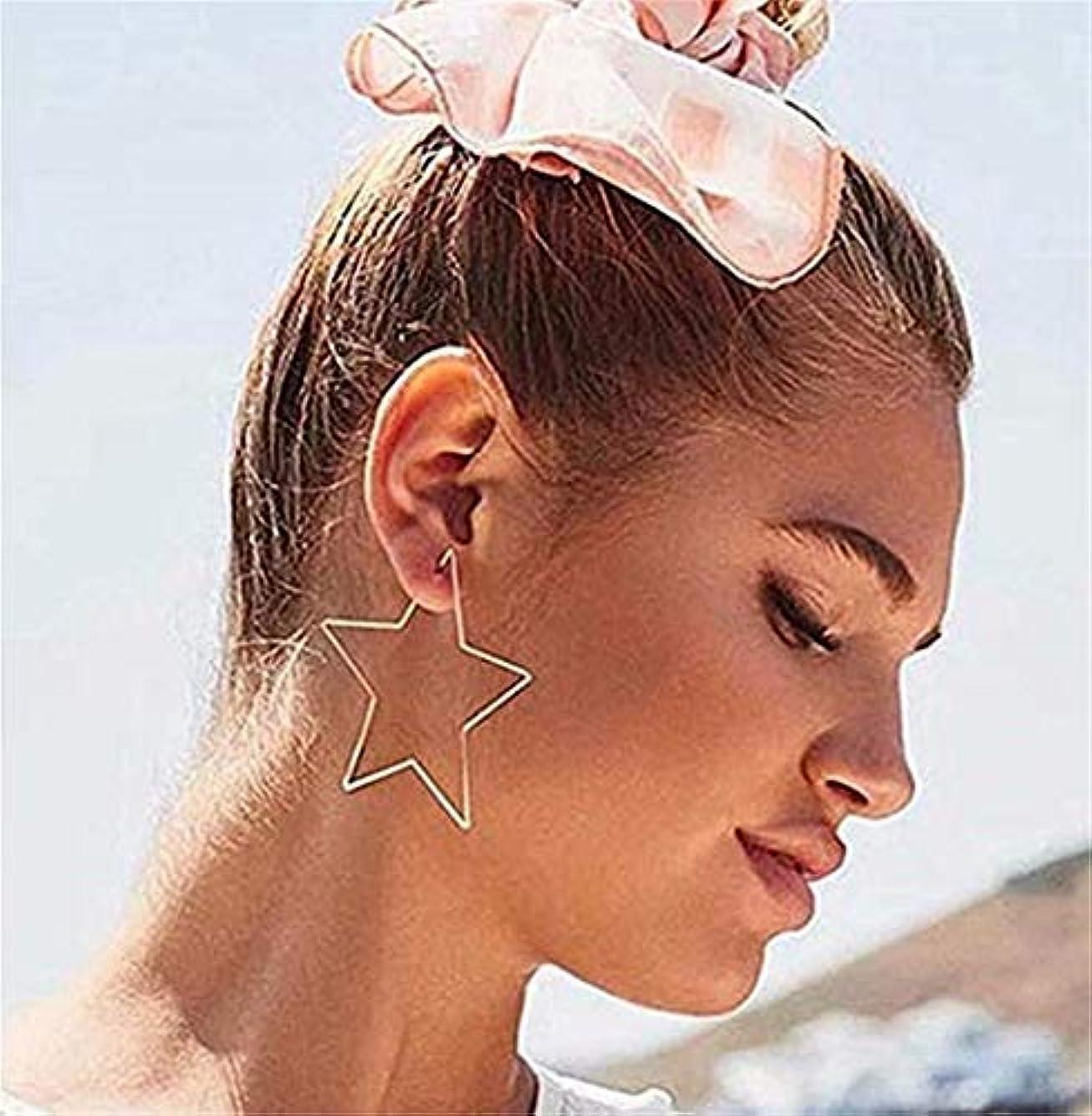 驚くべきフルートインタフェース七里の香 五芒星の中空ペンタグラムの耳の女性のフックスレーターダングルドロップスタッドイヤリングジュエリー