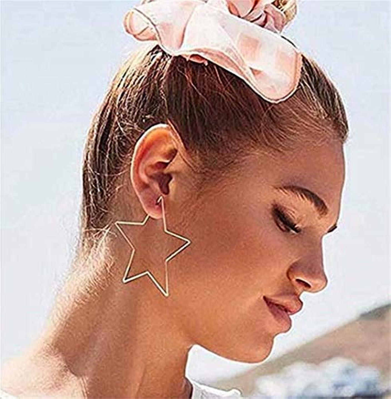 男らしいしなやか壊れた七里の香 五芒星の中空ペンタグラムの耳の女性のフックスレーターダングルドロップスタッドイヤリングジュエリー