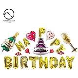 バルーン 風船 気球 フォイルバルーン 誕生日パーティーデコレーション ハッピーバースデーバナー シャンパンボトルゴブレット 誕生日パーティー用品 1セット26個入り