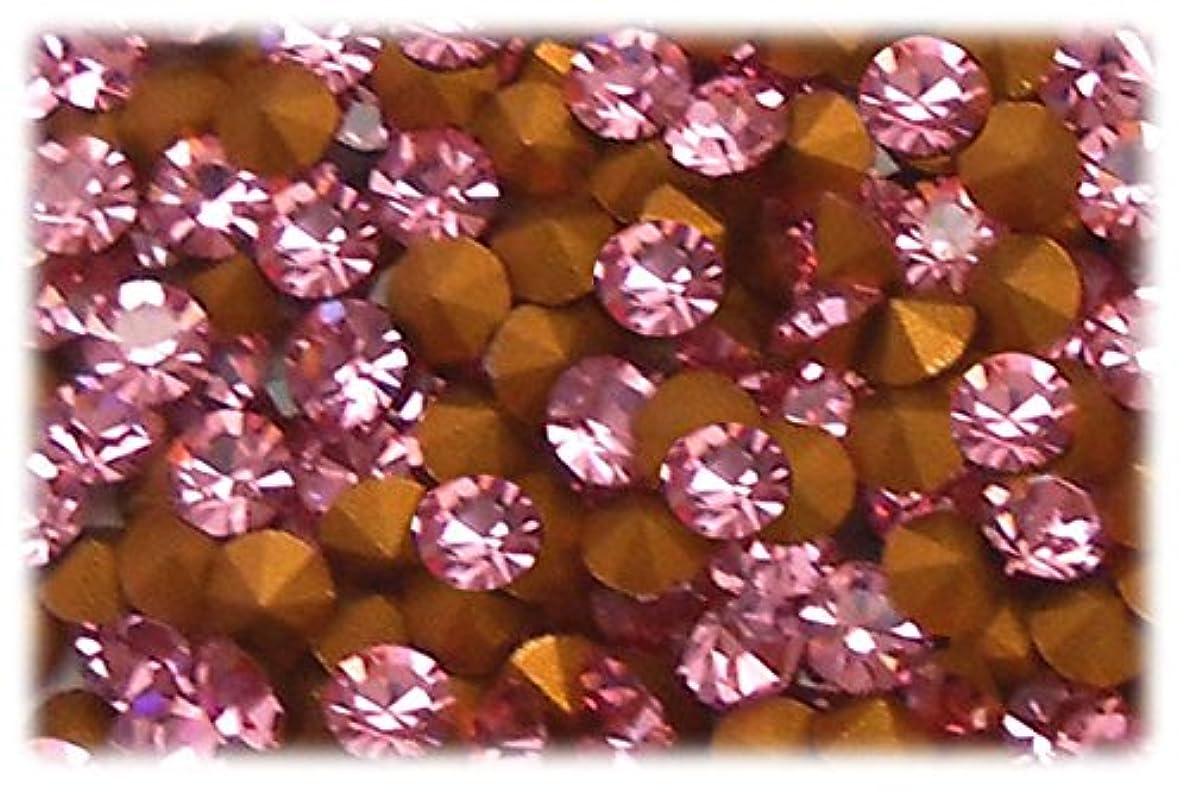 強盗あまりにも花弁SHAREKI CRYSTAL Vカット チャトン ラインストーン ピンク ライトローズ SS3 100個入り ~SS39 5個入り SS10