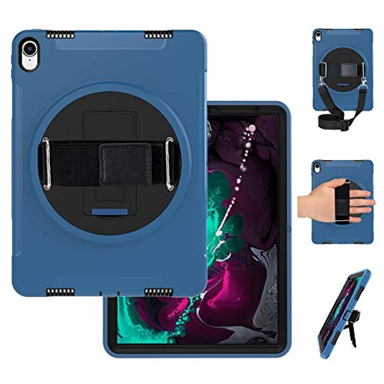 橋脚年齢ラリーMiesherk iPad Pro 11 2018 ケース pcハードケースと 三層保護 頑丈 耐衝撃 防塵 キックスタンド付き ハンド ホルダー 片手 360度 回転 ショルダーストラップ ナイロン製 子供 11インチ iPad Pro 2018 保護 ケース カバー スタンド/ハンドストラップ/ショルダースト ブラック