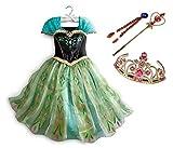 CREDIBLE 子供 用 プリンセス ドレス コスチューム 豪華5点セット ・グリーン ( プリンセスドレス , ティアラ , 魔法のステッキ , 三つ編みウィッグ , CREDIBLEオリジナルグッズ ) 110cm NT341