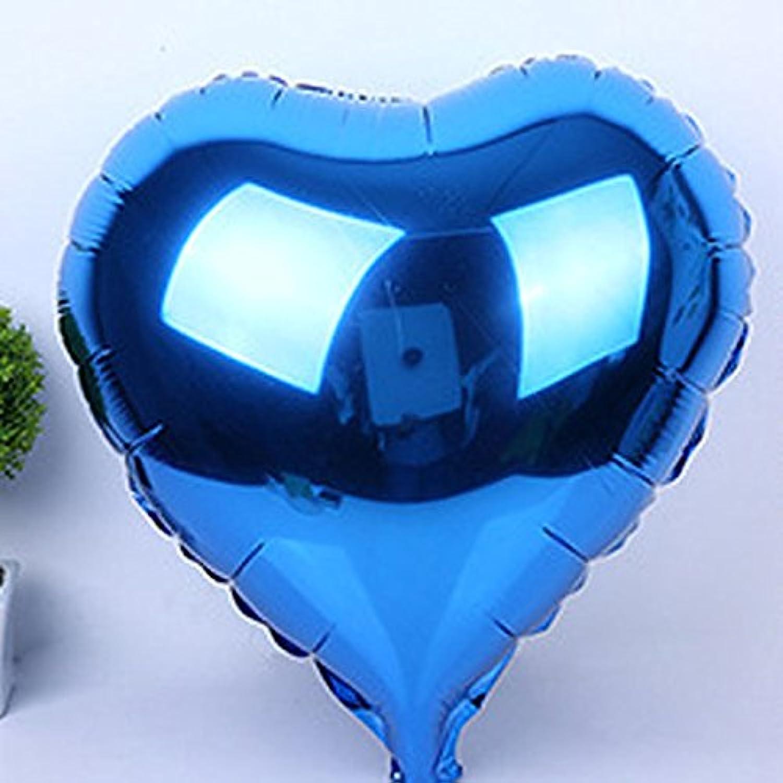 Do mo 風船 バルーン ハート風船  アルミ風船  アルミバルーン 心形風船  【全8色】  5 個 セット 結婚式  二次会  パーティー  イベント 運動会 誕生日 バースデーパーティー アニバーサリー など 飾り付け用 (ブルー)