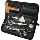 6インチ美容院プロフェッショナル理髪セット、フラットシザー+歯シザーレトロハンドルハサミセット モデリングツール (色 : Silver)
