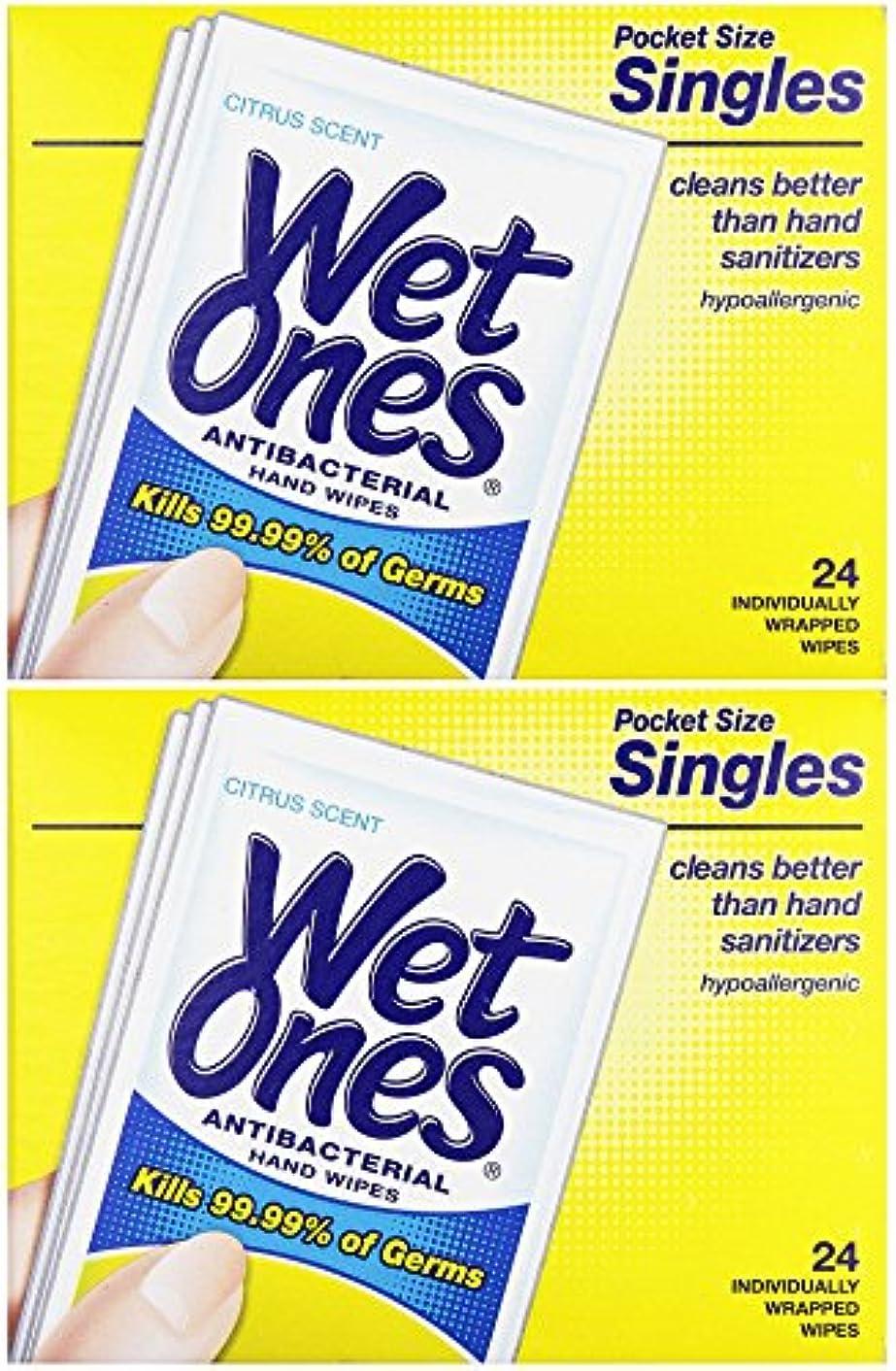 知事逃げる熟読する濡れOnesウェットティッシュ抗菌Citrus Singles 24 ea (パックof 2 )