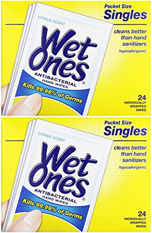 濡れOnesウェットティッシュ抗菌Citrus Singles 24 ea (パックof 2 )