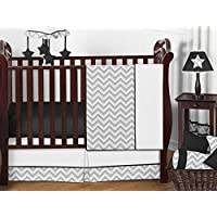 Sweet Jojo Designs 11-Piece Gray and Black Chevron Zig Zag Unisex Baby Bedding Girl or Boy Crib Set Without Bumper [並行輸入品]
