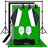 Abeststudio 500W Continuous Lighting 50 x 70cm Softbox kit and Black chromakey Green White Gray Backdrops Soft box Equipment Kit Portable Photo Studio with 2 x 25W 5500K LED Lamp Bulbs + Free Carry Bag ( 2m cable, AU plug, E27 Socket )
