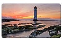 海、海岸、岩、日没、灯台、赤い空 パターンカスタムの マウスパッド 海 デスクマット 大 (60cmx35cm)