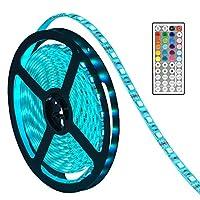 SMD5050 LEDライトストリップ 防水 16.4フィート RGB LEDストリップ照明 44キー赤外線リモートコントロールLEDテープ LEDロープライト 庭/自宅/キッチン/車/バー用