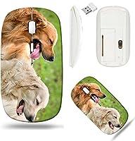 Liiliワイヤレスマウスホワイトベース旅行2.4GワイヤレスマウスUSBレシーバー付き、クリックwith 1000dpi for PCノートブック、PC、ラップトップ、コンピュータ、Mac Bookビューの2つの犬Lying Golden Retrieverフォト20481239