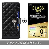 【 GalaxyS9 PLUS ( SC-03K , SCV37 ) ケース + 液晶保護フィルム 】 【 ブラック 】 Galaxy S9 Plus / GalaxyS9プラス / ギャラクシー / ギャラクシーs9 + / GalaxyS9+ / ギャラクシーs9プラス / s9プラス / ギャラクシー+ / ギャラクシーs9+ / SC-03K / sc03j / SCV37 / Docomo / ドコモ / au / サムスン / Samsung / スマートフォンケース / スマホカバー / スマホケース / 手帳型 / キルティング / ダイアリーケース / ローズ / カード収納 / カードポケット