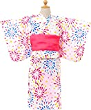 女の子 花火柄 浴衣ドレス ふわふわ帯2本セット【726-262】95cm ホワイト