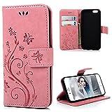 Mavis's Diary iPhone6G/iPhone6S対応ケース レザー素材 防塵 耐久性 装着やすい スタンド 手帳型 吸着の機能 胡蝶 優雅な花 ピンク