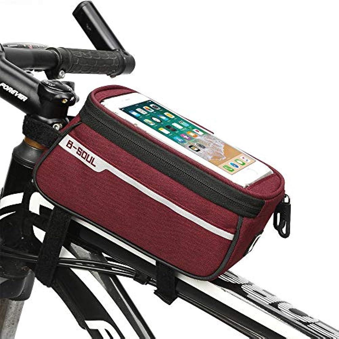 家具件名増幅器自転車フレームバッグ マウンテンバイクバッグフロントビームバッグ自転車バッグロードカーフロントバッグライド機器サドルバッグチューブバッグ 防水電話ホルダー (色 : 赤)