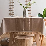 "JZY Heavy Duty Cotton Linen Tablecloth for Rectangle Table Stitching Tassel Table Cloth for Dining Table Dust-Proof Table Cover for Tabletop Decoration (55""x86"", S-Linen)"