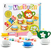 Koltose by Mash DIY Tea Set for Kids Painting Kit, Complete Mini Tea Set For Dollhouses, Arts and Craft Kit for Girls Gift and Paint