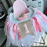 第一誕生日 赤ちゃん 誕生日 お祝い  バナー ハイチェア チュール スカート  装飾 パーティー サプライ  (ローズゴールド)