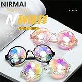 NIRMAI パーティーサングラスラウンドサングラス 絶賛祭万華鏡男性女性 サングラスレトロ 万華鏡 ランプ 。