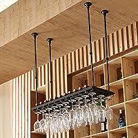 ワインラック - ヨーロッパの錬鉄製のぶら下げワイン/ワイングラスラックホームバー装飾ブラック (Size : 60*35cm)