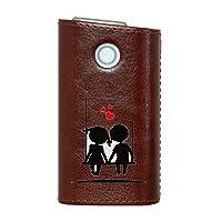 glo グロー グロウ 専用 レザーケース レザーカバー タバコ ケース カバー 合皮 ハードケース カバー 収納 デザイン 革 皮 BROWN ブラウン ハート 白 黒 キャラクター 009335