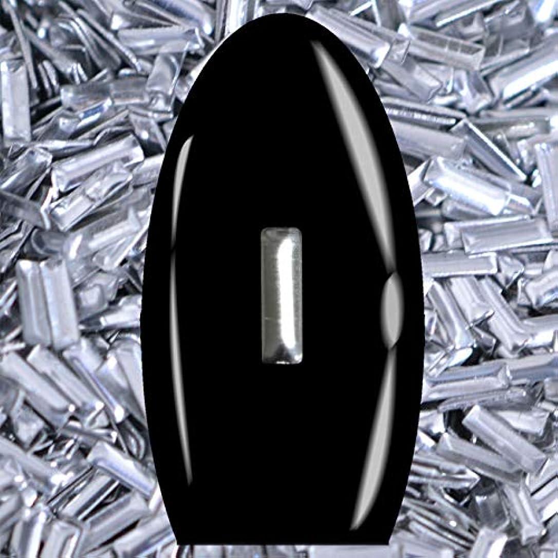 包帯呼吸持続するメタルスタッズ ネイル用 50粒 STZ032レクタングル シルバー 5mm×1mm 延棒型