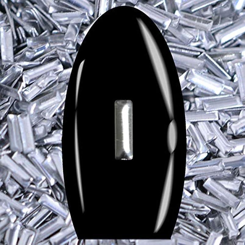 床を掃除するソケット倫理的メタルスタッズ ネイル用 50粒 STZ032レクタングル シルバー 5mm×1mm 延棒型