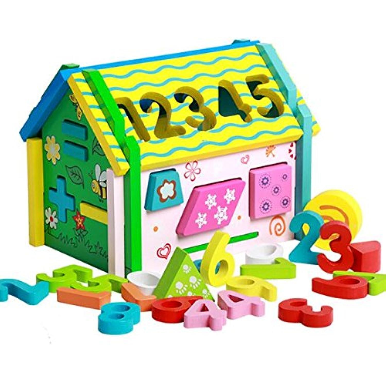 HuaQingPiJu-JP 子供のための多機能木製シェイパーソーター教育形状色認識玩具