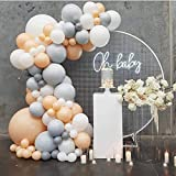 "Eanjia 118PCS Blush Balloon Arch & Garland Kit DIY Double Layer 5""-36"" Flesh Grey White Balloons Bulk 16ft for Wedding Baby Shower Birthday Party Supplies Photo Backdrop Venue Decor (Blush)"