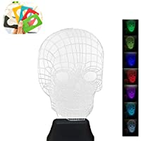 Woolala 7-Color Changable 3D Vision Skull Night Light Acrylic Colorful Illusion Table Light As A Gift for Bedroom, Writing Desk, Home Decor, Party Decor