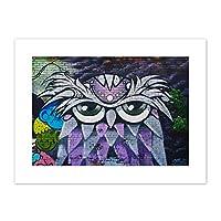 DiNoto Graffiti Purple Owl Detroit Canvas Wall Art Print 落書き紫の壁