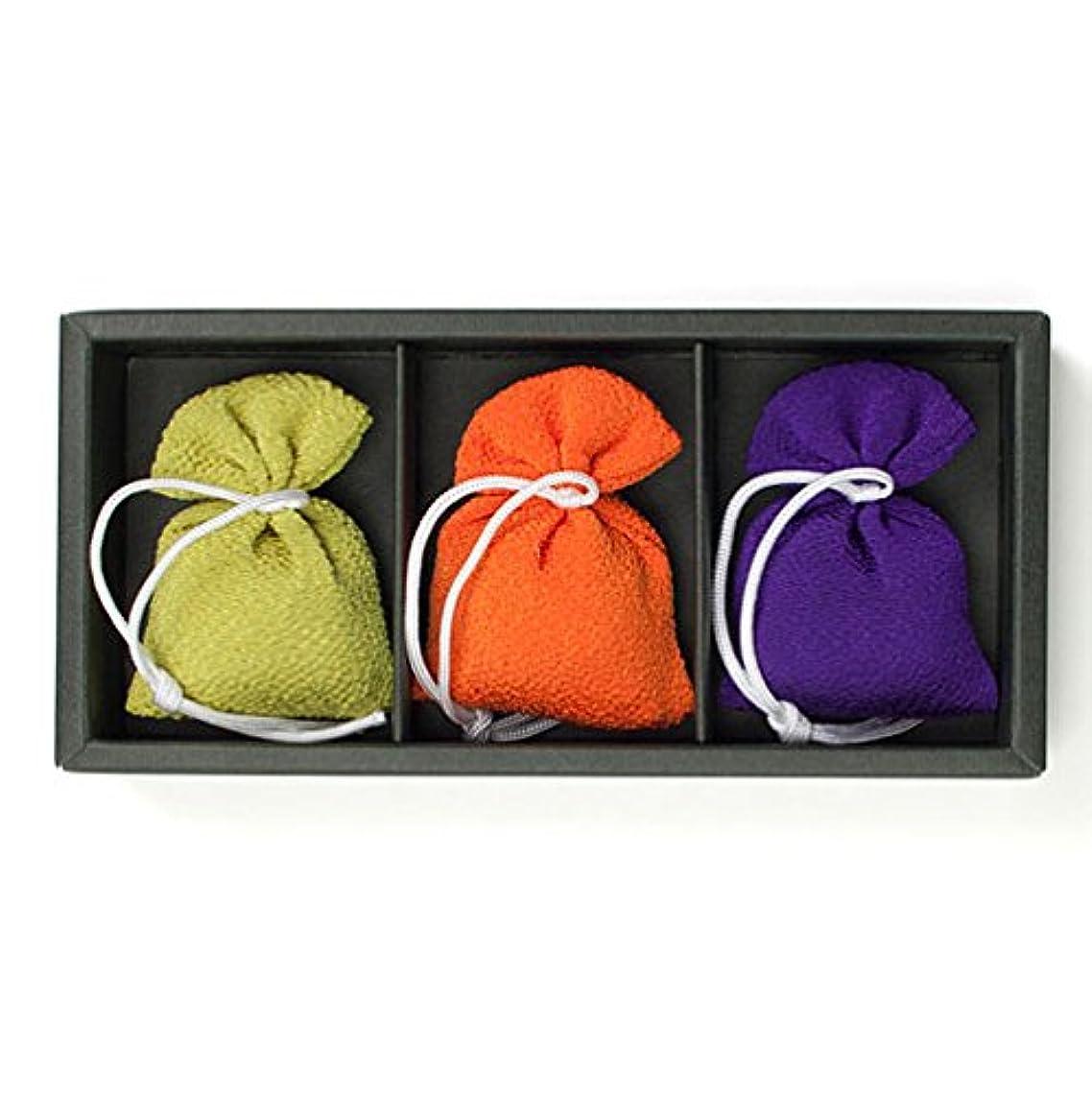 刺繍成熟鰐匂い袋 誰が袖 上品(無地) (色はおまかせ) 3個入 松栄堂 Shoyeido