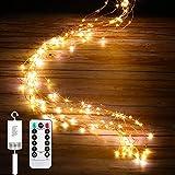 LEDイルミネーションライト ジュエリーライト 100球 電池式 リモコン付 8パターン 点滅 点灯 防水 防塵仕様 屋外 室内 ガーデンライト 正月 クリスマス 飾り ストリングライト (ウォームホワイト)