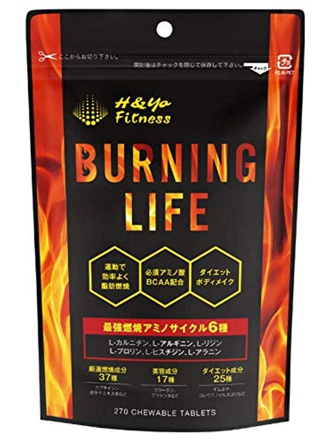 真似る発送隣接BURNING LIFE 燃焼系ダイエットサプリ L-カルニチン 必須アミノ酸BCAA配合 運動時の燃焼を強力サポート 270粒 (1か月分)