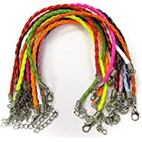 "ALL in ONE Mixed Color Braided Leather Cord Necklace with Lobster Clasp Extended Chain 17""-19"" (MIX 10PCS BRACELET)"