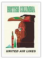 ブリティッシュコロンビア - インドのトーテム - ビンテージな航空会社のポスターc.1960s - 美しいポスターアート