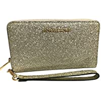 Michael Kors Jet Set Travel Large Flat Zip MF Phone Case Glitter Giftable Leather Wristlet Wallet
