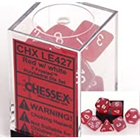 Chessex Manufacturing LE427 Frosted Red With White 7-Set