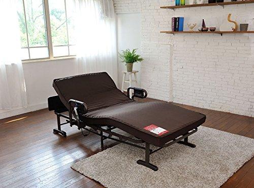 電動ベッド 介護ベッド[ブラウン] シームレスマット コンパクト収納 手すり付き 安全設計